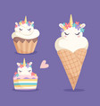 unicorn sweets ice cream cupcake and color vector image vector image