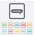 Webinar with cursor pointer sign icon Web study vector image vector image