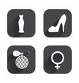 Wedding dress icon Women shoe sign Perfume vector image vector image