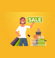 woman holding sale banner female customer with vector image