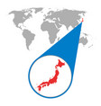 world map with zoom on japan map in loupe in flat vector image