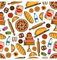Bakery products with ingredients seamless pattern vector image vector image