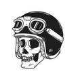 biker skull in racer helmet design element vector image