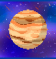 bright jupiter cute planet in pixel art style on vector image