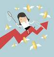 businesswoman riding arrow graph catch flying coin vector image