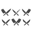 butcher crossed knives vector image