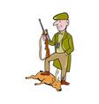Cartoon Hunter With Rifle Standing on Deer vector image vector image