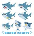 cartoon sharks family newborn baby shark comic vector image vector image