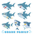 cartoon sharks family newborn bashark comic vector image vector image