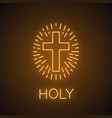 church cross neon light icon vector image