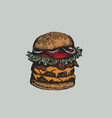 colorful big burger made in hand drawn sketch vector image