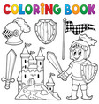 coloring book knight theme 1 vector image vector image