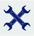crossed wrench blue icon vector image vector image