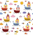 cute animals in boats kids seamless pattern vector image vector image