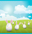 cute easter eggs with bunny ears in a sunny vector image vector image