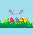 decorative easter eggs on green grass cartoon vector image vector image