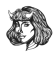 Devil woman head portrait with horns for t-shirts vector image vector image