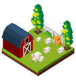 farm scene with sheeps in 3d design vector image vector image