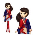 Fashion Girl In Stylish Poncho vector image