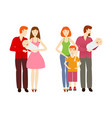 flat cartoon big family characters vector image
