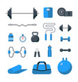 flat design icons fitness gym exercise equipment vector image