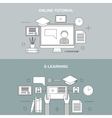 Flat linear of e-learning vector image vector image