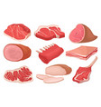 flat set of fresh meat products food icons vector image