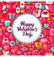 Flat Valentines Day Postcard vector image vector image