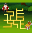 game pirates maze find way to the treasure vector image