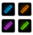 glowing neon ruler icon isolated on white vector image vector image