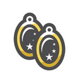 gold unique earrings jewelry icon cartoon vector image