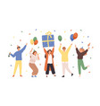 group happy people raising hands celebrating vector image vector image