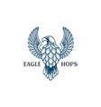 hand drawn eagle falcon hawk and hops logo vector image vector image