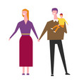 husband and wife with baboy in hands cartoon vector image vector image