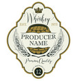 label for whiskey with ears of barley and barrel vector image vector image