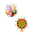 lottery symbols - fortune wheel bingo cards kegs vector image vector image