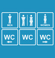 male and female wc icon denoting toilet and vector image vector image