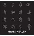 man health editable line icons set on black vector image vector image
