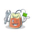 mechanic tea bag character cartoon vector image vector image
