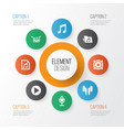 multimedia icons set collection of mike music vector image vector image