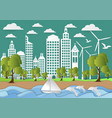 paper art of city with sea and beach background vector image