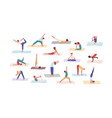 people practicing yoga position set flat vector image vector image