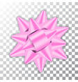 pink bow ribbon 3d decor element package shiny vector image vector image