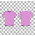pink men s t-shirt template v-neck front and back vector image vector image