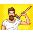 pop art brutal bearded man macho with an vector image