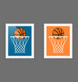 postage with basketball hoop and ball icon vector image