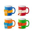 realistic detailed 3d coffee cup in scarf set vector image vector image