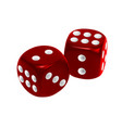 red dice isolated on white background vector image vector image