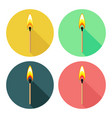 round icons with burning match isolated on white vector image vector image