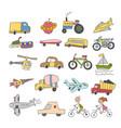 set element doodle transport colorful kid hand vector image